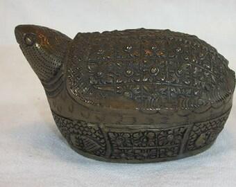 Vintage Beautiful Large Betel Nut Hand Tooled Silver Turtle Box 2 Piece Lidded
