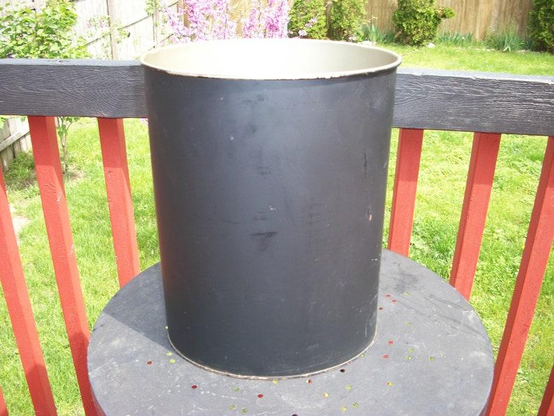Vintage Plain Black Metal Outside Gold Inside Wastebasket Trash Can