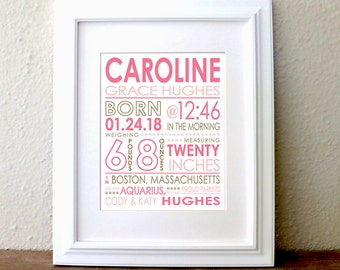 CUSTOM COLOR Birth Stats Print. Personalized gift for new mom. New baby gift. Subway design. Wall Art. Jen Hughes Designs.