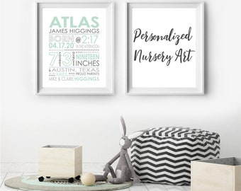 Personalized Nursery Art. Custom Color Nursery Design. Birth Stats Print. New baby gift. Wall Art. Jen Hughes Designs.