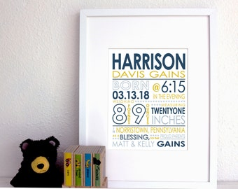 CUSTOM COLOR Birth Stats Print. Birth Announcement. 8x10 Baby Print. Baby girl or boy. New baby gift. Nursery print.