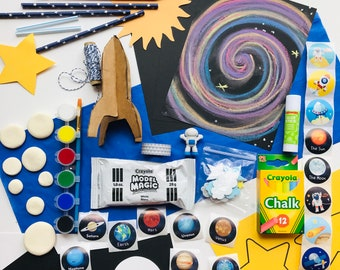Space Explorer Art Box! Kids create + explore the galaxy by making their own planets + rocketship art. 6+ Projects included. FREE SHIPPING.