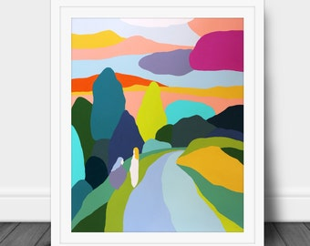 The Path Ahead. Colorful, minimalist art. An original Jen Hughes Designs painting. Vibrant print for your home.