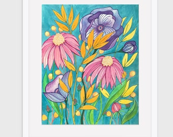 Garden Painting Print. Alice in Wonderland. Whimsical Flower Print. An Original Jen Hughes Designs Painting Print,