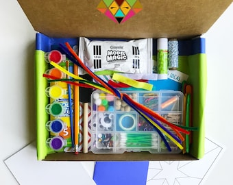 Super-Star CRAFT BOX!! Open-ended box of art supplies for kids ages 4-12. Enhances creativity. Hours of imaginary play & screen-free time!