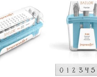 Sailor Metal Stamp Set Impressart 4mm-Number Set Metal Metal Supply Chick--NEW