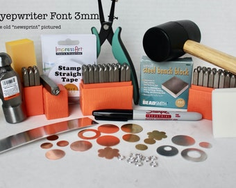New Font- Metal Stamping Kit-Beginners Stamping Kit-Typewriter 3mm  Impressart Font Set-Includes-Letter Sets Upper and Lower/Numbers