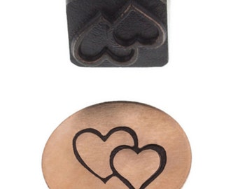 Hearts Metal Stamp 10mm Design Stamp- Double Heart-Metal Stamping Supplies-Eurotool Brand-Elite Series-Metal Supply Chick-22513