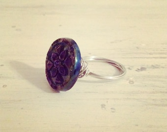 Vintage glass button silver plated ring