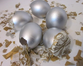 Mexican Wedding Favors Silver Confetti Eggs Cascarones Gender Reveal Baby Shower