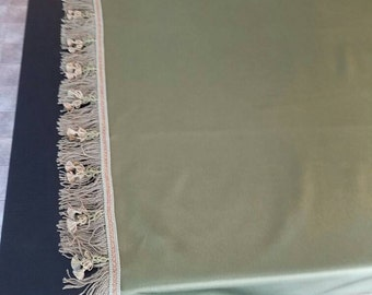 Extra Wide Table Runner With Trim Olive Green, Tablecloth, Table Linens