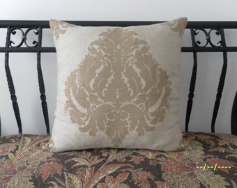 Damask Euro Sham, linen, chenille, pillow shell, elegant, bedroom, home decor, pillow cover, chenille, medallion