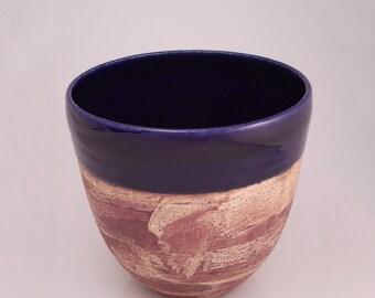 Handthrown cobalt blue and brown ceramic bowl, handmade decorative stoneware, pasta cereal soup centerpiece decoration, medium-size