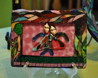 "Glass Art Mixed Media Mosaic ""Twins"""