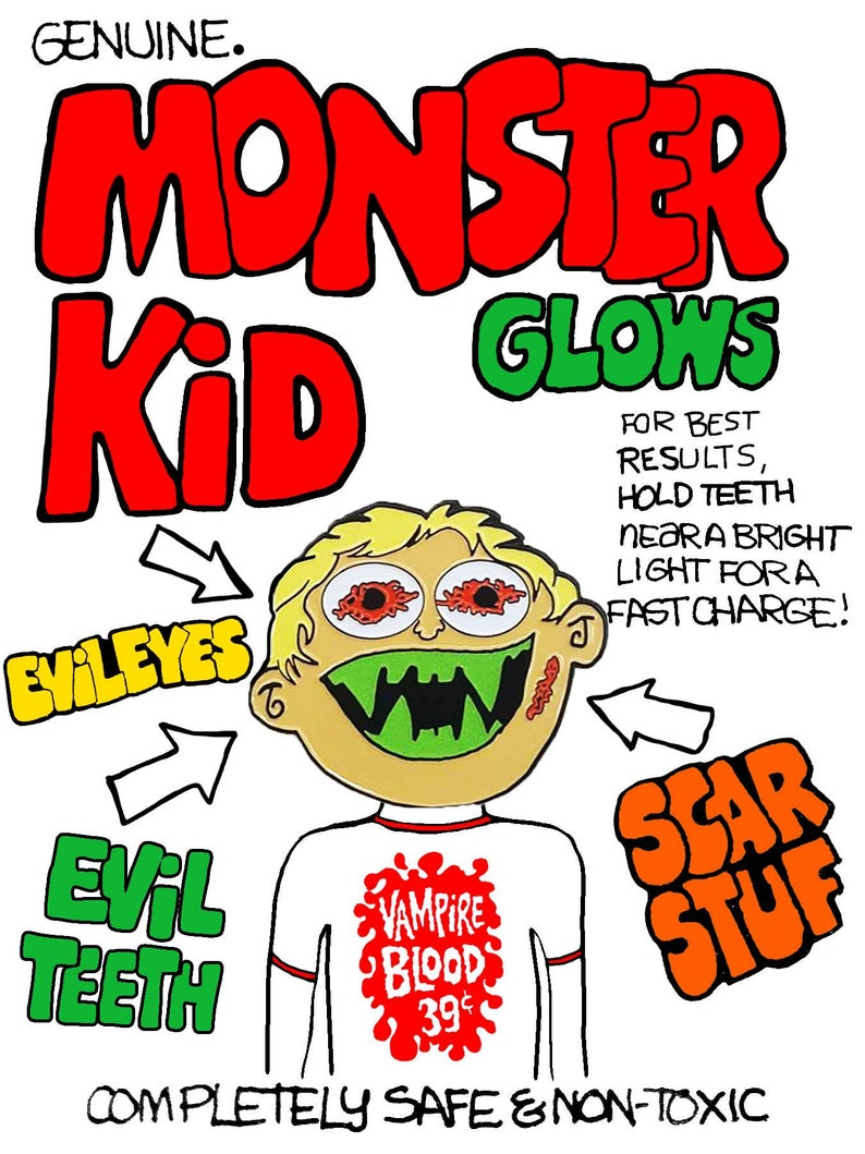 Monster Kid enamel pin Vampire Blood Evil Teeth Scar Stuff Halloween