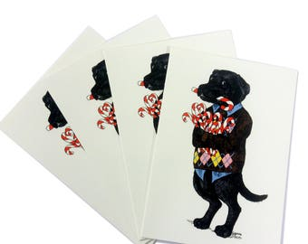 Labrador Dog Christmas Cards Set Candy Cane