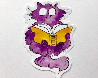 Cat reading a book vinyl sticker