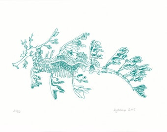 Leafy Sea Dragon teal screen print, hand-pulled