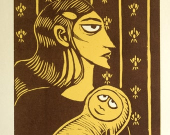Victorian Mum and Baby Limited Edition Woodcut