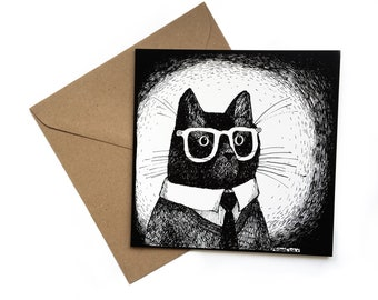 Working Mr Cat in Glasses greeting card