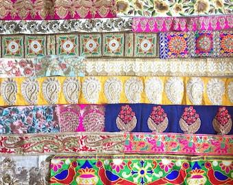 3 Yards Indian Zari 4 line Diamonte Bridal Sari Dupatta Craft Lace trim Border