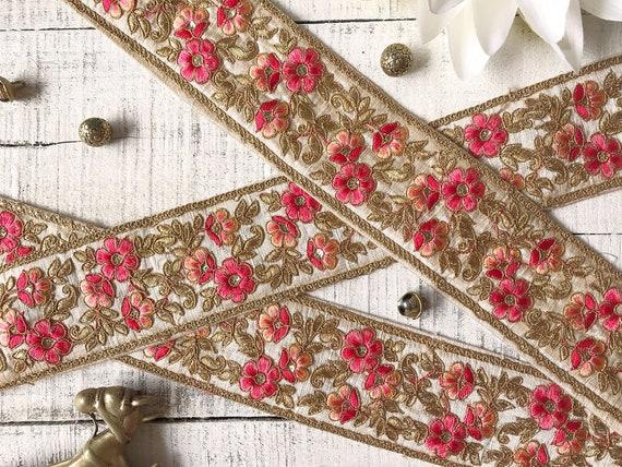 1 Yd 2.5 Cm Indian Embroidered Braided Trim Decorative Ribbon Sari Border