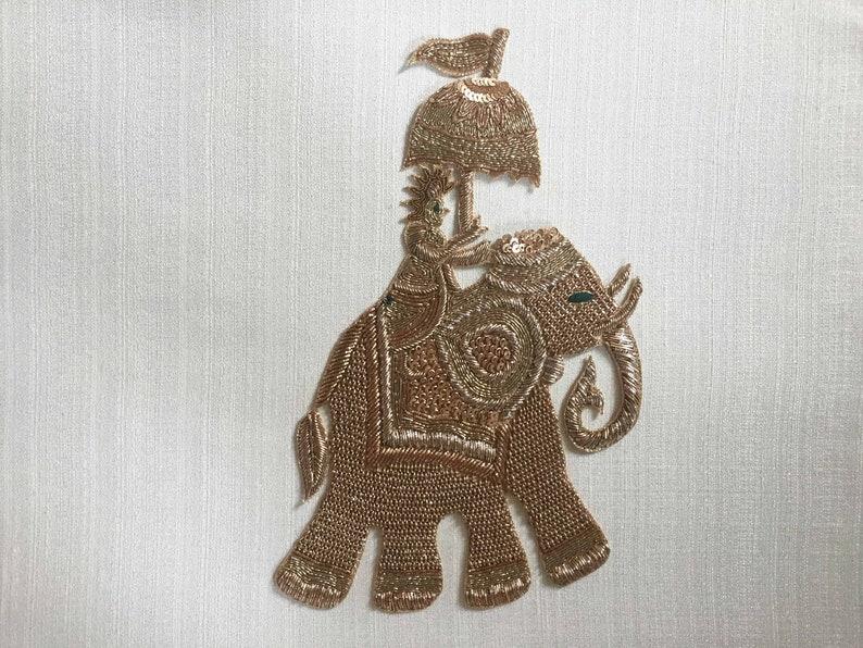 elephant motif scrapbooking embellishment wedding groom 1 piece bridal patch Indian pillow applique mtf318 umbrella sequin gold