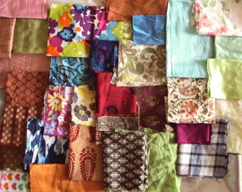 fabric scrap bundle, indian fabric remnants pack - scpbdl