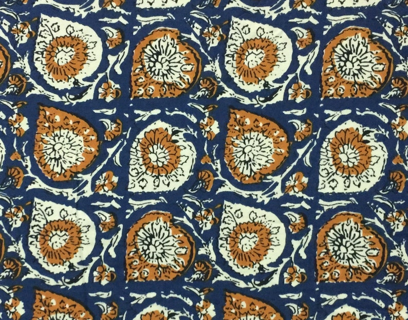 5 Yard Ethnic Blue Paisley Floral Screen Print Indian Cotton Fabric Sewing
