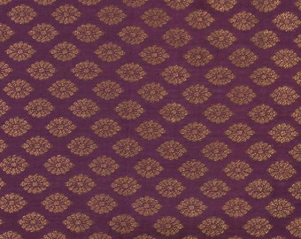purple brocade fabric with gold motifs - 1 yard - br096