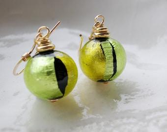 Green Round Murano Glass Earrings