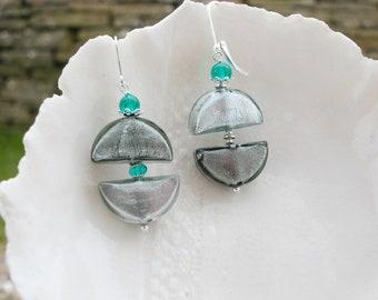 Unique Murano Glass Half Moon Earrings