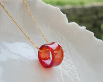 Red Murano Glass Hoop Necklace With Gold Or Silver Chain Options