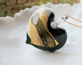 Murano Black Ivory & Gold Heart Pendant Necklace