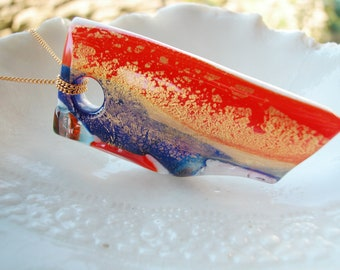 Red White & Blue Murano Glass One Of A Kind Pendant Necklace