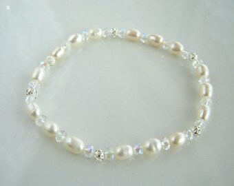 Silver Filigree Crystal and White Freshwater Pearl Bracelet White Pearl Bridal Stretch Bracelet