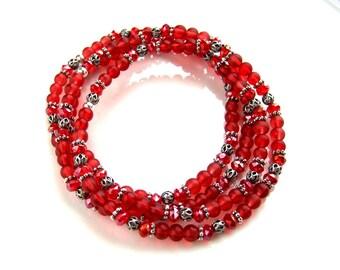 Antique Silver Filigree Cranberry Red Stretch Bracelet Stacking Bracelet