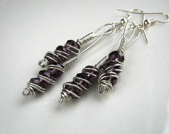 Long Purple Wire Wrapped Earrings Purple Dangle Earrings Purple Earrings