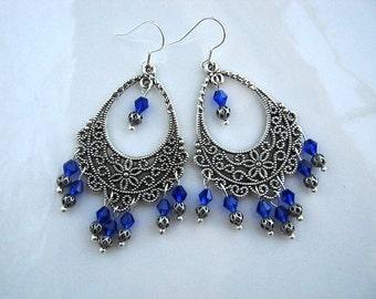 Cobalt Blue Crystal Filigree Chandelier Earrings Cobalt Blue Filigree Earrings Blue Chandelier Earrings