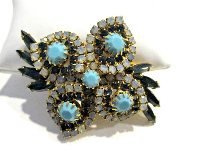 Vintage Stunning Large Opaline Turquoise and Blue Rhinestone Brooch Pin 2 58 Gift for Mom Gift Idea for Her