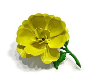 Yellow flower pin etsy vintage yellow flower pin enamel brooch 2 12 bright flower jewelry gift idea for mom flower pin gift idea under 15 mightylinksfo