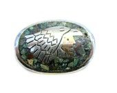 Vintage Metales Casados Inlay Brooch Eagle Warrior Signed Inlaid Turquoise Copper Sterling Silver Pin Eagle 3 Markings