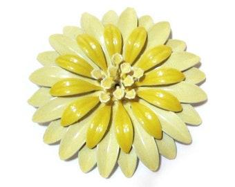 Yellow flower pin etsy vintage light yellow flower pin enamel huge 3 brooch flower jewelry gift idea for mom flower pin gift idea under 20 mightylinksfo