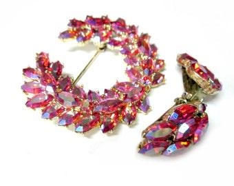 Vintage Pink Rhinestone Brooch Jewelry Set Earrings Pink Aurora Borealis Wreath Pin Clip Earrings Pink Wedding Jewelry