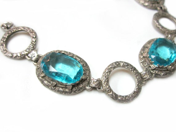 Vintage Aqua Blue Glass Vintage Bracelet Large Blue Art Deco Antique Link...