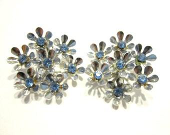 Vintage Coro Earrings Blue Silver Clip Earrings Large Round Blue Rhinestone Earrings Designer Signed