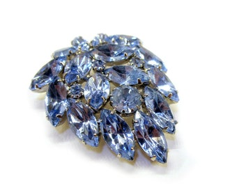 """Vintage Blue Rhinestone Brooch 1 3/4"""" Pin Under 30 Gift Idea For Mom For Her Blue Jewelry"""