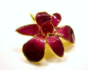Genuine Orchid Flower Pin 24k Gold Dipped Red Flower Stick Pin Orchid Flower Pin Gift for Mom for Her Under 20