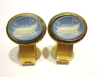 Vintage Dante Cuff Links Men's Vintage Jewelry Blue Viking Ship Cuff Links Suit Tie Accessories Gift for Him Gift for Dad