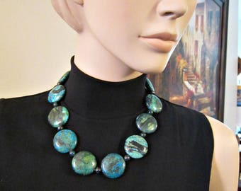 "Chrysocolla Agate Stone Necklace Bold Blue Green Flat Round Gemstone Necklace 20"" Toggle clasp Beaded Necklace Chunky"